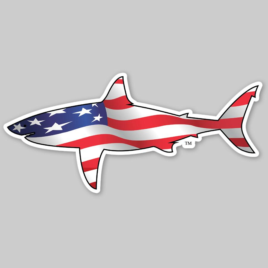 All American White Shark Sticker